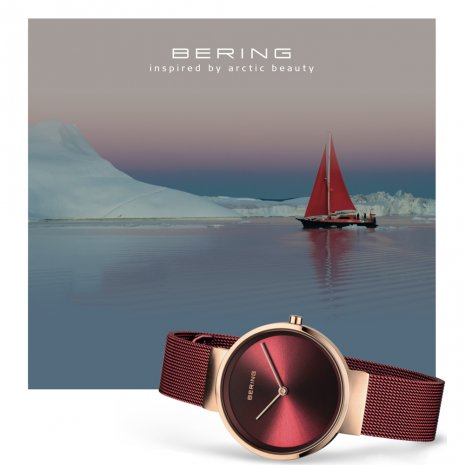 Red & Rose Gold Ladies Quartz Watch Colecção Primavera/Verão Bering
