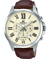 EFV-500L-7AVUEF  47.20mm Silver chrono with brown leather strap