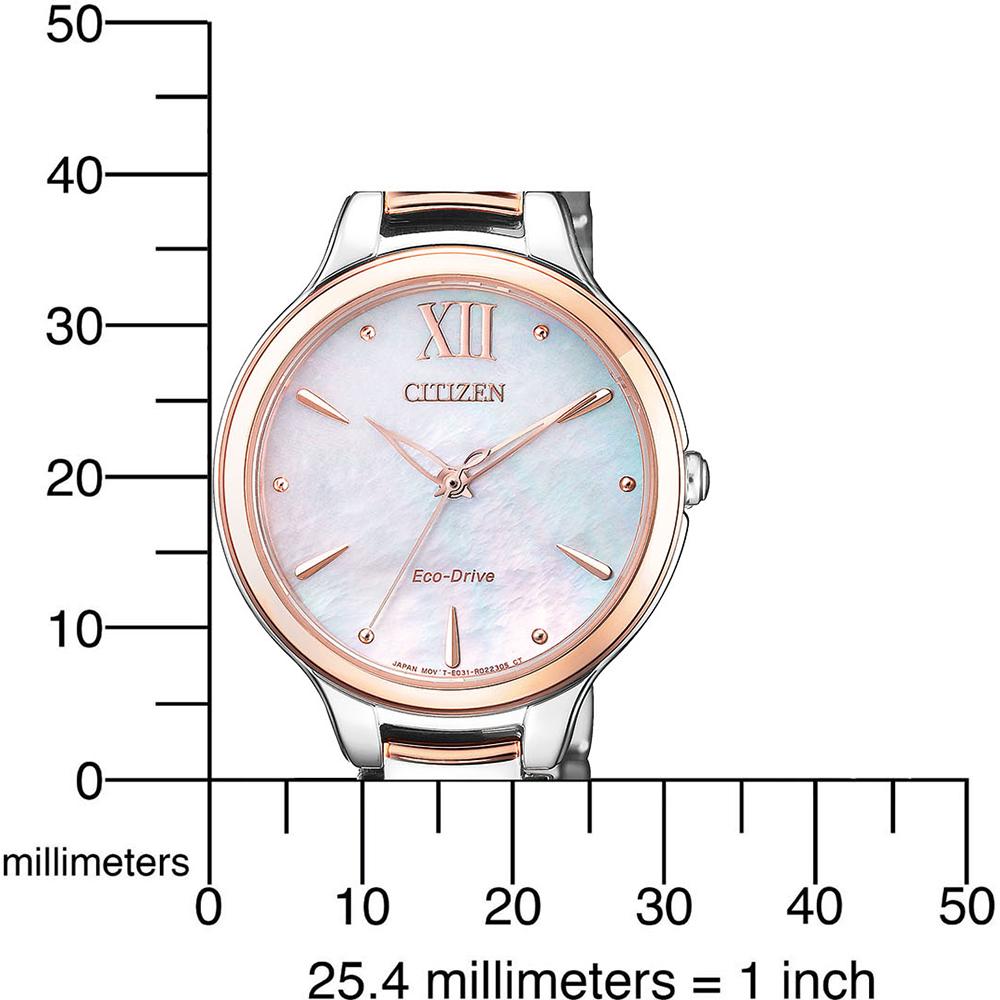 9056ad95845 Elegante relógio para mulher a energia solar com mostrador madrepérola  Colecção Outono Inverno Citizen