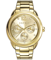 ES108102002 Carrie Gold multifunction watch with crystal indexes