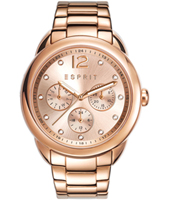 ES108102003 Carrie Rose gold multifunction watch with crystal indexes