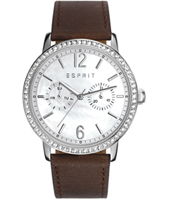 ES108092005 Kate Silver ladies watch with mother of pearl and crystals on brown strap