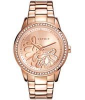 ES108122006 Kylie Rose gold ladies watch with crystals & decorated dial