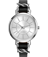 ES109342001 New Classics 34mm Silver quartz watch with over leather strap