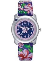 ES108344001 Tropical flowers Silver girls watch with floral print