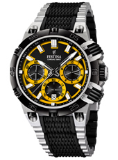 F16775/7 Chrono Bike 44mm Black & Yellow chronograph with date