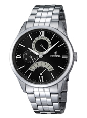 F16822/2 Multifunction 43mm Steel day/date watch with black dial and steel bracelet