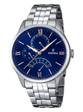 F16822/3 Multifunction 43mm Steel day/date watch with blue dial and steel bracelet
