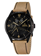 F16849/1 Multifunction 41mm Black multifunction watch with beige textile strap