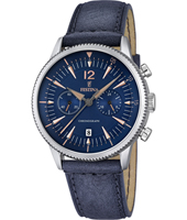 F16870/2 Retro 41.60mm Steel and rose gold chronograph with blue leather strap