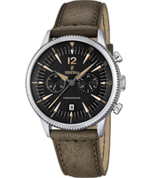 F16870/3 Retro 41.60mm Steel chronograph with date and brown leather strap