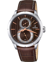 F16892/5 Retro 45.70mm Brown Steel Gents Watch with Date