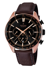 F16846/1 Sport 44mm Rose gold chronograph with tachymeter and brown leather strap