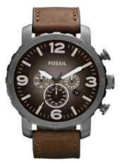 JR1424 Nate 49mm Large Grey & Brown Chrono with Date on Brown Leather Strap