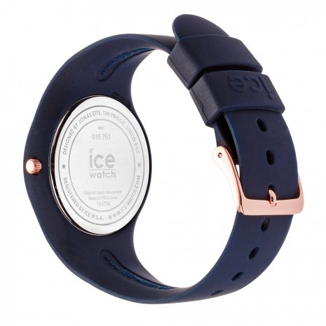 Blue & Rose Gold Silicone Watch Size Medium Colecção Primavera/Verão Ice-Watch