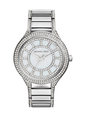 MK3311 Kerry 37mm Silver Ladies Watch with Crystals
