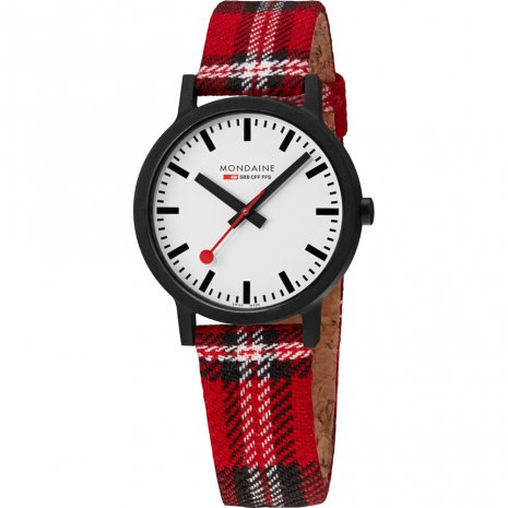 Eco-friendly watch with tartan cork-textile strap Colecção Outono/Inverno Mondaine