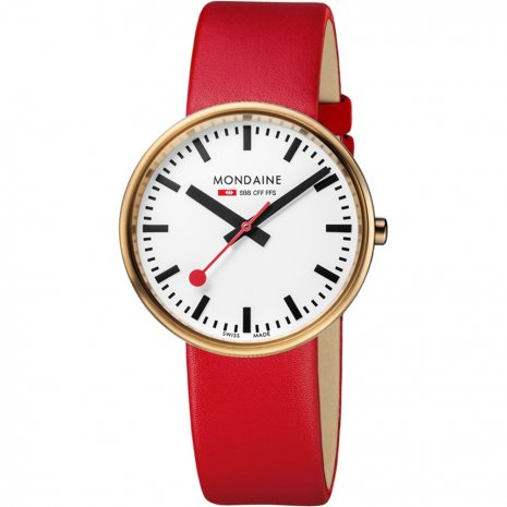 Swiss railway watch with extra Red Leather Strap Colecção Outono/Inverno Mondaine