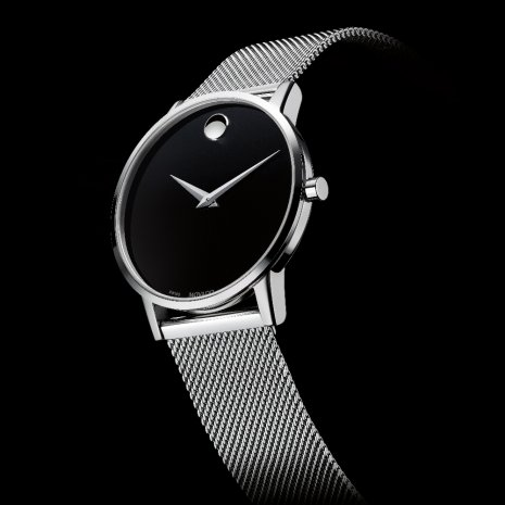Black Gents Watch with Concave Dot Colecção Outono/Inverno Movado