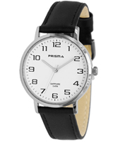 P.1739 Stainless Steel 37mm Stainless steel watch with black leather strap