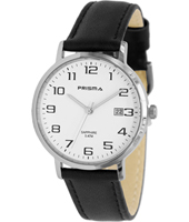 P.1740 Stainless Steel 37mm Stainless steel watch with black leather strap