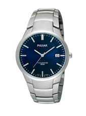 PS9011X1  36.50mm Titanium & Blue Gents Watch with Date