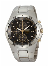 SND451P1   42mm Titanium & Black Chrono with Date & Gold Details