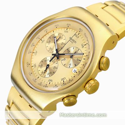 daf54870436 Relógio Swatch Irony YOG402G Golden Block • EAN  7610522285132 ...