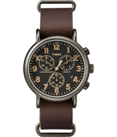 TW2P85400 Weekender Chrono Oversized 40mm Gunmetal chronograph with loomi dial