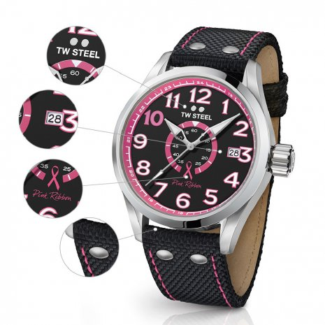 Ladies Sports Watch with Extra Pink Textile Over Leather Strap Colecção Outono/Inverno TW Steel